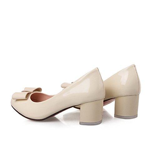 BalaMasa Girls slip-on kitten-heels solido in vernice pumps-shoes, Beige (Beige), 35
