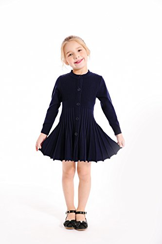 - SMILING PINKER Little Girls Pleated Dress School Uniform Long Sleeve Button Front Knit Sweater Dress (Navy Blue, 7-8)