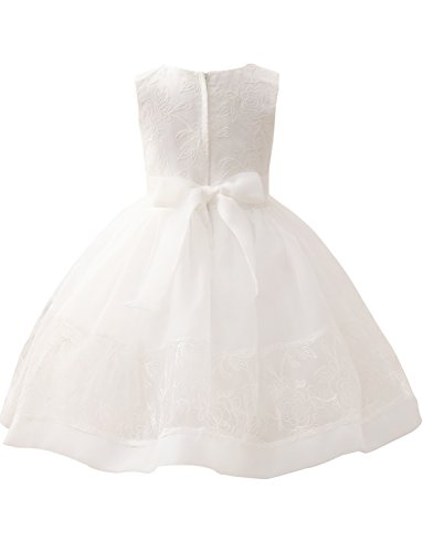 Rundhals Erosebridal Blumenmädchenkleider Spitze Bowknot für Hochzeit 0qP5qOA
