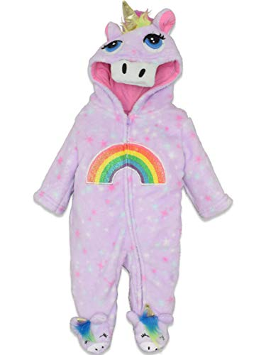 Funstuff Baby Girls Fleece Unicorn Zip-Up Costume Coverall with Hood (0-3 Months)