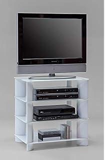 tv rack lowboard tisch hifi turm regal audio schrank mit metallgestell und esg weissglas b