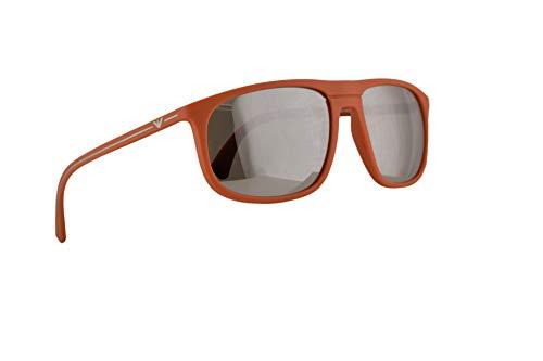 Emporio Armani EA4118 Sunglasses Orange Rubber w/Light Grey Mirror Silver Lens 59mm 56916G EA 4118