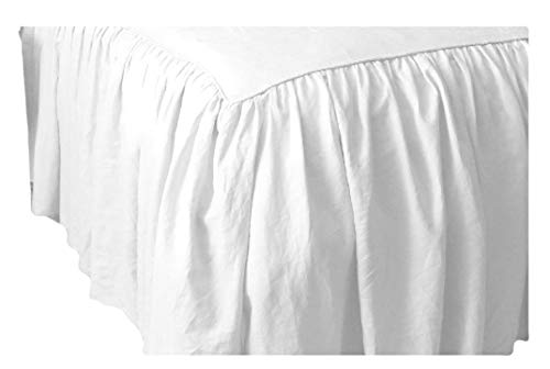 Thread Count 650 Egyptian Cotton Queen Split Corner Gathered Dust Ruffle Bed Skirts Perfect for Bed Posts Solid Drop Length 21 Inches White