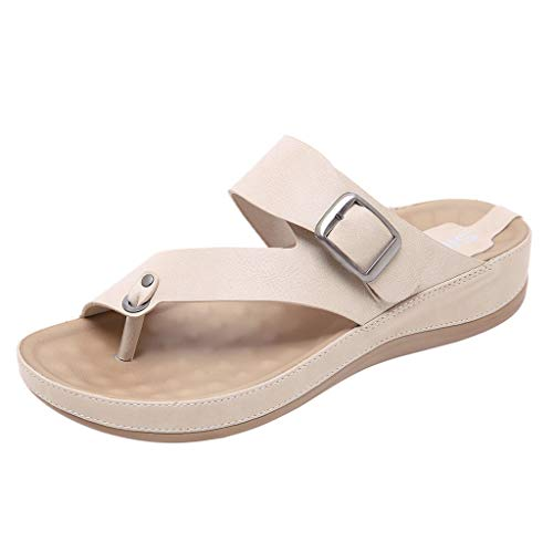 Womens Strap Buckle Flats Sandals Non-Slip Beach Open Toes Two Band Ankle Strap Flat Flops Beige ()