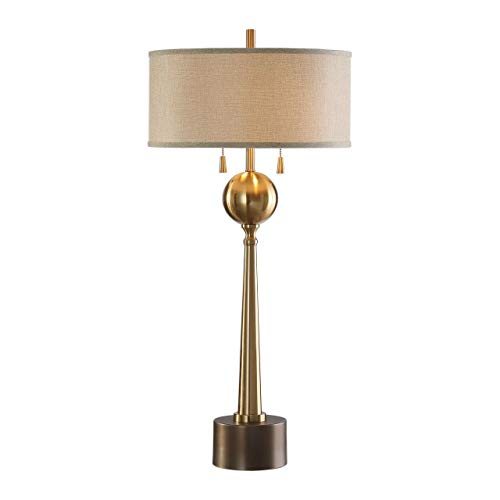 Uttermost Kensett Plated Brushed Brass Column Table Lamp