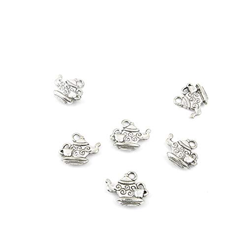 (Qty 100 Pieces Ancient Silver Jewelry Making Charms Findings P0581 Teapot Pendent Bulk for Bracelet Necklace)