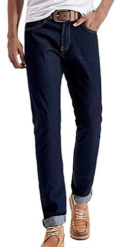 Pantalones Vaqueros del Dril Los Slim Fit Hombres De Pantalones Vaqueros Rectos Azules De La Pierna del Corte Recto Pantalones Básicos Aptos Pantalones Largos del Diseño De La Manera Delgados Delga Colour