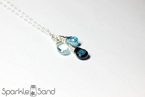 London swiss sky blue topaz necklace, multi gemstone necklaces, genuine topaz gem, December birthstone jewelry, 925 sterling silver, birthday gift idea, shades of blues, hand wire wrapped pendants ()