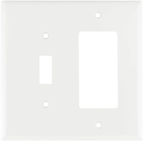 White Toggle Switchplate - Eaton 2153W-BOX Standard Size 2-Gang Thermoset Toggle and Decorator Combo Wall Plate with Box, White Finish