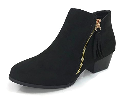 Marie Chunky Stacked Low Suede Bella Bootie Black Ankle Arianna Women's Side Zipper Cut V Heel dPPZqvAz