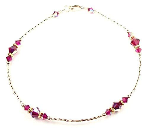 DAMALI Handmade 14K GF Red Ruby Beaded Anklet, July Birthstone, Swarovski Crystal Ankle Bracelets