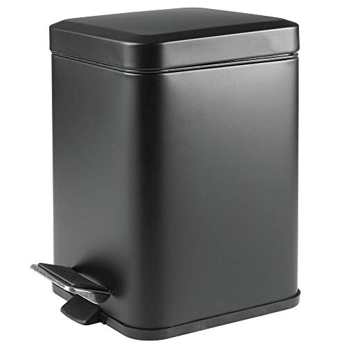 mDesign 1.5 Gallon Square Small Metal Step Trash Can Wastebasket, Garbage Container Bin for Bathroom, Powder Room, Bedroom, Kitchen, Craft Room, Office - Removable Liner Bucket - Matte - Square Garbage
