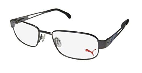 Puma 15417 Mens/Womens Designer Full-rim Flexible Hinges Eyeglasses/Spectacles (48-17-135, Gray / - Spectacles Design Frame