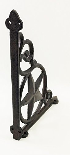 Western Star Shelf Brackets - Aunt Chris' Products - Heavy Cast Iron - Star Shelf Bracket (Lot/Set of 2) - Wall Mount - Indoor or Outdoor Use - Rustic Black Finish - Old Western Primitive Design