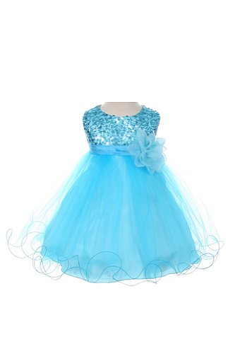 Sequin & Tulle Special Occasion Holiday Dress - Aqua Baby L (12-18 Month)