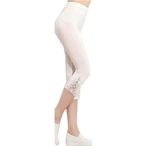 Ladies Women's Summer Slim Sexy Lace Hook Skinny Stretch Trimmed Leggings Pants (White)