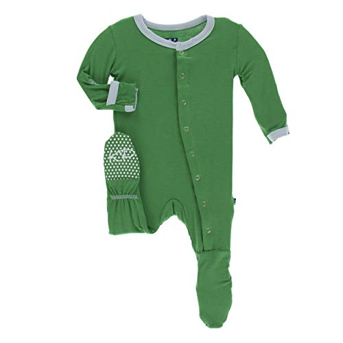 Kickee Pants Little Boys Solid Footie with Snaps - Fern with Spring Sky, 18-24 Months]()