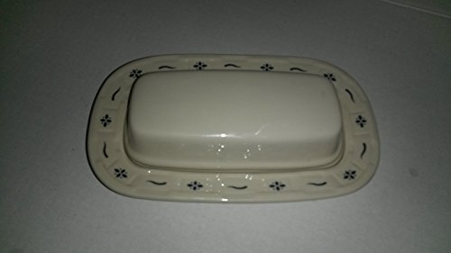 Longaberger Pottery Woven Traditions, Classic Blue, Covered Butter With Lid