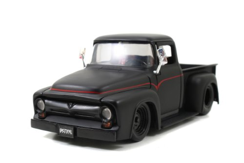 1956 Ford F-100 Pickup Truck Matt Black 1/24 by Jada 90485 (Ford 56 Pickup F100)