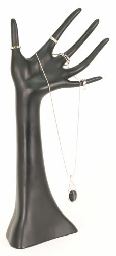 KC Store Fixtures 49131 Jewelry Hand Display for Necklaces, Bracelets and Rings, Black, 14'' High