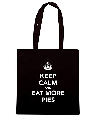 Borsa Shopper Nera TKC3752 KEEP CALM AND EAT MORE PIES