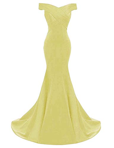 Yinyyinhs Women's Evening Dress Off Shoulder Ruffles Mermaid Formal Prom Gowns Size 12 - Dessy Bridesmaids Gowns
