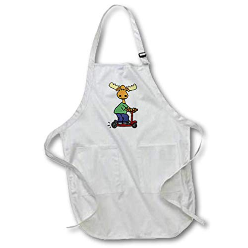 3dRose All Smiles Art - Birds - Funny Cute Moose Riding Red Electric Scooter Cartoon - Medium Length Apron with Pouch Pockets 22w x 24l (apr_317720_2) ()