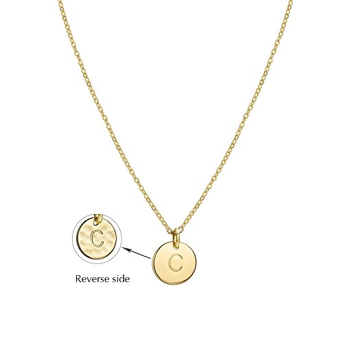 Befettly Initial Necklace Pendant 14K Gold-Plated Round Disc Double Side Engraved Hammered Choker Necklace 16.5'' Adjustable Personalized Alphabet Letter Pendant C from Befettly