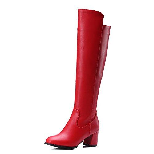 AllhqFashion Mujeres Pu Caña Alta Sólido Cremallera Tacón Medio Botas con Metal Rojo
