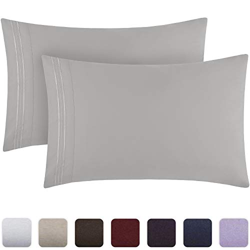Mellanni Luxury Pillowcase Set - Brushed Microfiber 1800 Bedding - Wrinkle, Fade, Stain Resistant - Hypoallergenic (Set of 2 Standard Size, Light Gray)