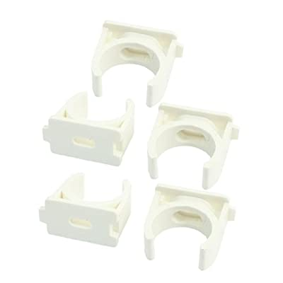 5Pcs 25mm White PVC-U Pipe Push Snap in Clip Clamps for Water Supply
