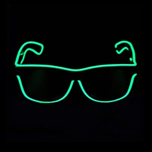 Aquat Light up Flashing Neon Rave Glasses El Wire LED Sunglasses Glow DJ Costumes For Party, Halloween, EDM RB01 (Green, Black Frame)