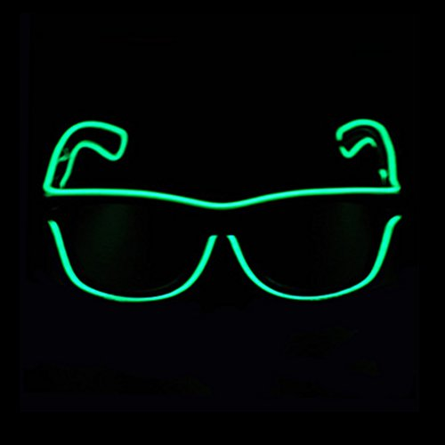 Aquat Light up Flashing Neon Rave Glasses El Wire LED Sunglasses Glow DJ Costumes For Party, Halloween, EDM RB01 (Green, Black Frame)]()