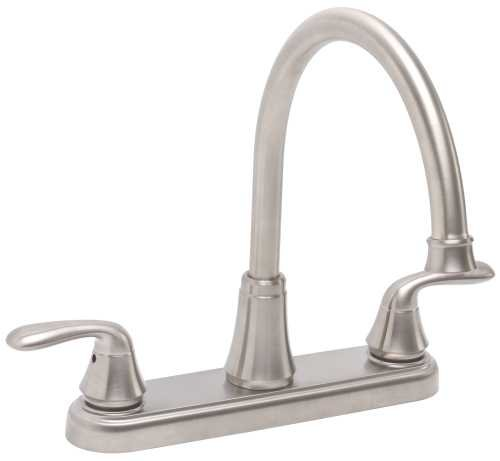 Premier Faucet 2495815 Lead Free 1.8 GPM Waterfront Kitchen Faucet with Two Handles, Brushed Nickel