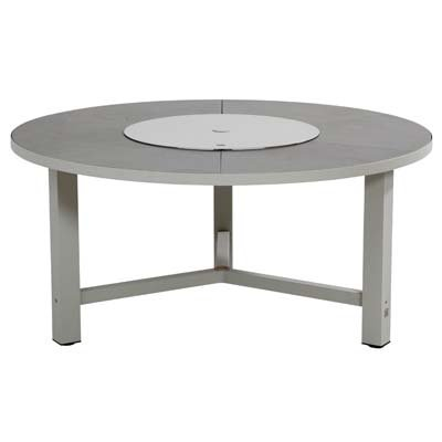 4 Seasons Tisch Diva Aluminium Seashell D:160cm inkl. Drehteller 6 Keramikplatten anthrazit