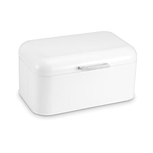 "Polder KTH-816201 Mini Retro Bread and Kitchen Storage Bin, Steel, 12"" x 7.7"" x 9"", White"