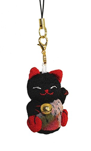 [Lucky Cat Smartphone Cell Phone Charm (Black/Red)] (Gothic China Doll Costume)