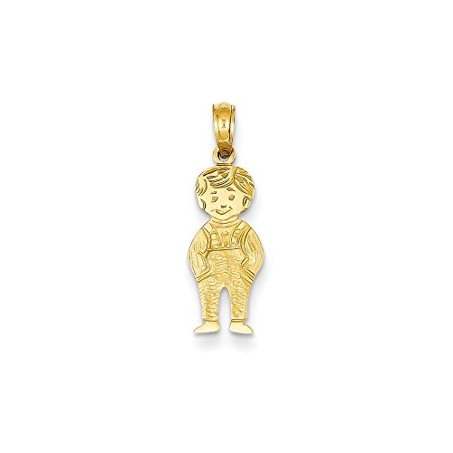 Solid 14k Yellow Gold Boy with Hands in Pocket Pendant (8mm x 23mm) 14k Yellow Gold Pocket