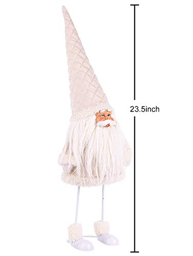 Amazlab Cute Christmas Plush Dancing Santa Claus Standing Figurine with Spring, Splashing and Funny Xmas Decorations Home Holiday Decoration Ornaments,White