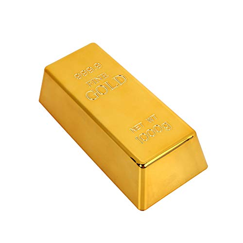 (Leaftree Bullion Door Stop Gold Brick Creative Deluxe Fake Gold Bar Paperweigh Simulation Plastic)
