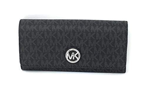 Michael Kors Signature PVC Fulton Flap Continental Wallet- Black