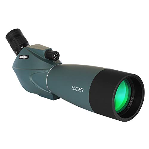AOMEKIE Spotting Scope with Tripod Cell Phone Adapter and Bag 25-75X70 BAK4 Monocular Telescope 45 Degree Angled Spotting Scopes for Target Shooting Bird Watching
