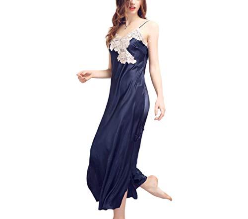 Blu V Vestito Donna neck Pizzo Da Notte Smanicato Estivi Schienale Spalline Abito Indumenti Senza Camicie Sleepwear Patchwork wpqa0wxg