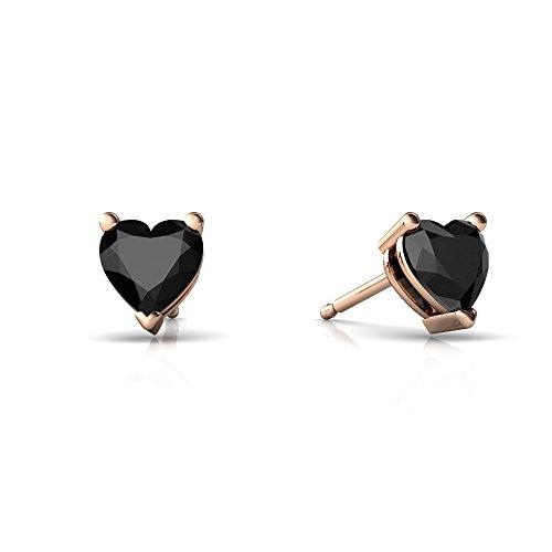 (14kt Rose Gold Black Onyx 5mm Heart Heart Stud Earrings)