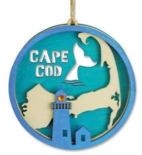 Cape Cod Christmas Ornament Laser Cut Wood Decoration 4 1/2 Inch