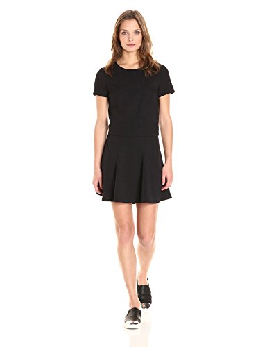 PARIS SUNDAY Women's Short Sleeve Textured Ponte 2 Piece Skirt Set, Black, Medium