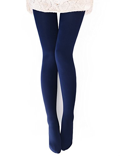 VERO MONTE 1 Pair Womens Opaque Warm Fleece Lined Tights (NAVY) 460221