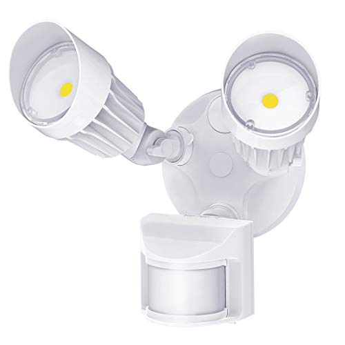 JJC LED Security Lights Motion Sensor Flood Light Outdoor,20W(120W Equiv.)2000LM,IP65 Waterproof,5000K Daylight White DLC & ETL Listed Outdoor Lighting