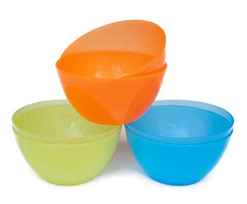 Honla 56 Oz Large Cereal Bowls,Big Salad Bowls,Set of 6 Plastic Bowls in 3 Assorted Colors,Unbreakable and Flexible,Orange,Blue,Green