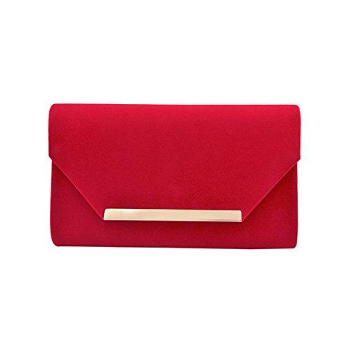Elegant Solid Color Velvet Clutch Evening Bag Handbag, Red -